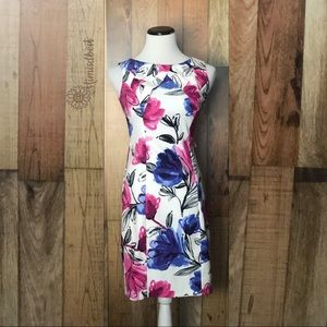 Floral career sheath dress sz 2 petite